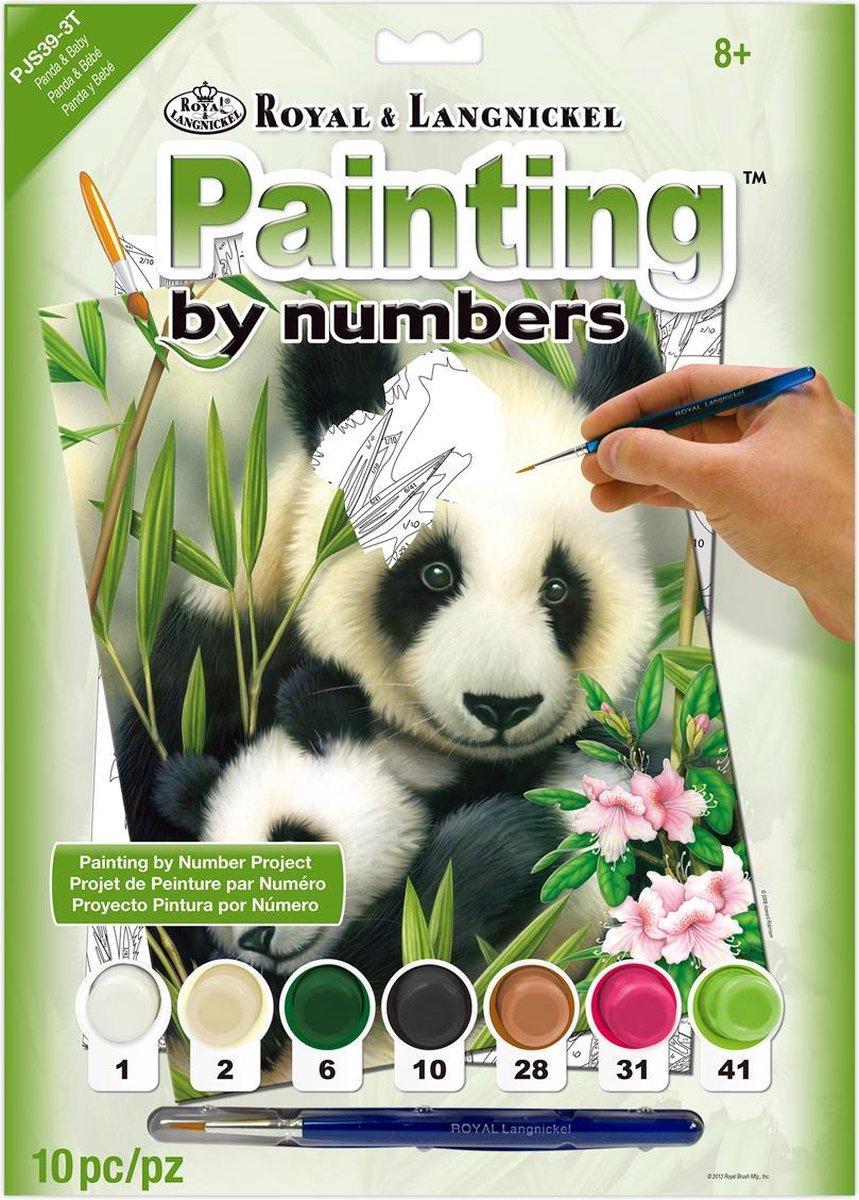Schilderen op nummer - Paint by numbers - Dieren - Panda's 22x30cm - Schilderen op nummer volwassenen - Paint by numbers volwassenen
