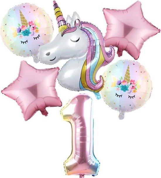 Set van 6 Stuks Unicorn / Eenhoorn ballonnen Verjaardagsfeestje Decoraties ( 1 jaar)