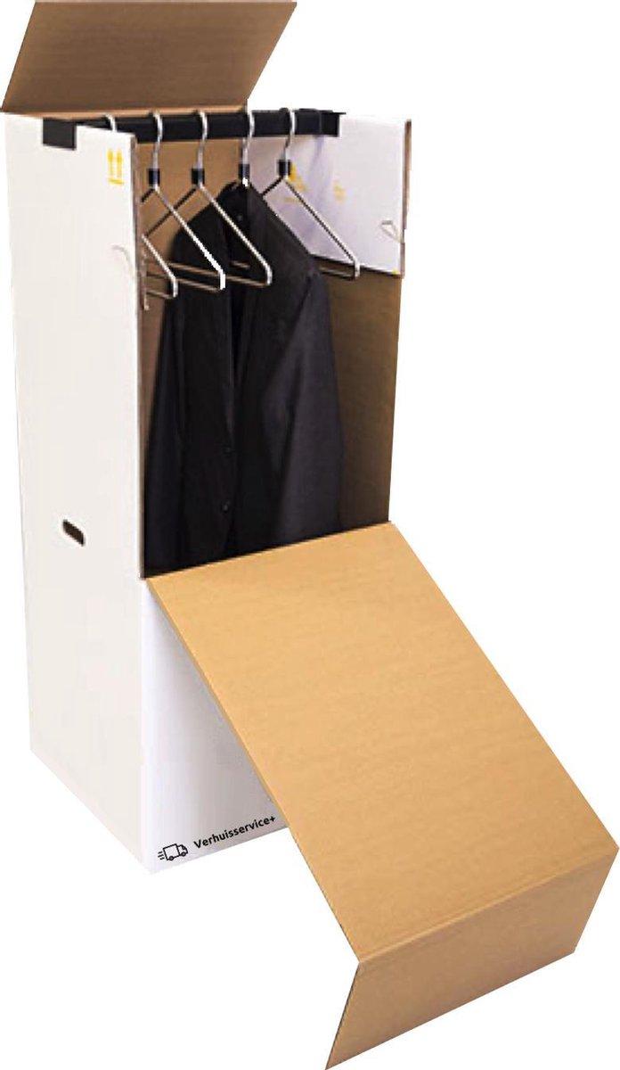 Verhuisservice+ Verhuisdoos voor Kleding - XL - Garderobedoos - Kledingdoos - Inclusief roede - Extr