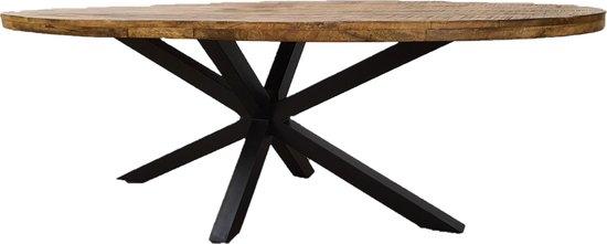 Zita Home Eettafel ovaal 190cm mangohout met zwarte matrixpoot van metaal