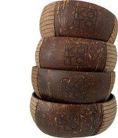 KOTO Kitchen | Hand Carved Coconut Bowl | Vietnam | Ecologisch | Set van 4 schaaltjes/ kommen
