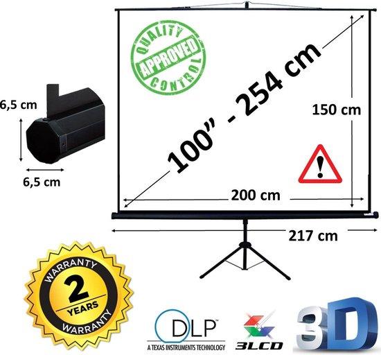 """Statiefscherm 100"""" mét opbergtas - 200 x 150 cm - 4:3 - projectiescherm op statief / tripod scherm / beamer scherm"""
