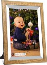 Kiki&Co Wit/Hout digitale fotolijst - fotokader - 10.1 inch - Frameo app - HD touchscreen - WiFi