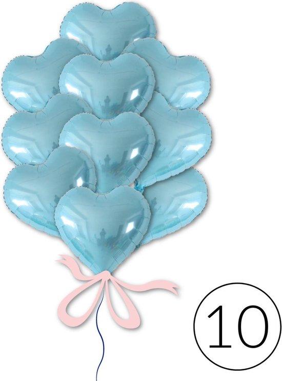 10 Ballonnen Hart Blauw voor Geboorte, Babyshower, Gender Reveal, Verjaardag |  Geschikt voor Helium