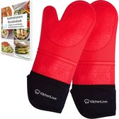 Siliconen Ovenwanten - Ovenhandschoenen - BBQ handschoen - 2 Stuks Hittebestendige Ovenwanten - Extra Lang voor Polsbescherming - 1 Paar - Rood
