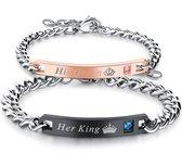 His Queen & Her King armband set | Liefdes Cadeau | Romantisch Cadeau | Cadeau voor Man | Valent