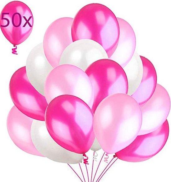 """50 Metalic Ballonnen Roze Wit Fuchsia Ballon Premium Kwaliteit 14"""" / 36cm Dikke Latex Feestballon - Feestversieringen voor Verjaardag Feest, Babyshower, Bruiloft, Geboorte, Vrijgezellenfeest"""