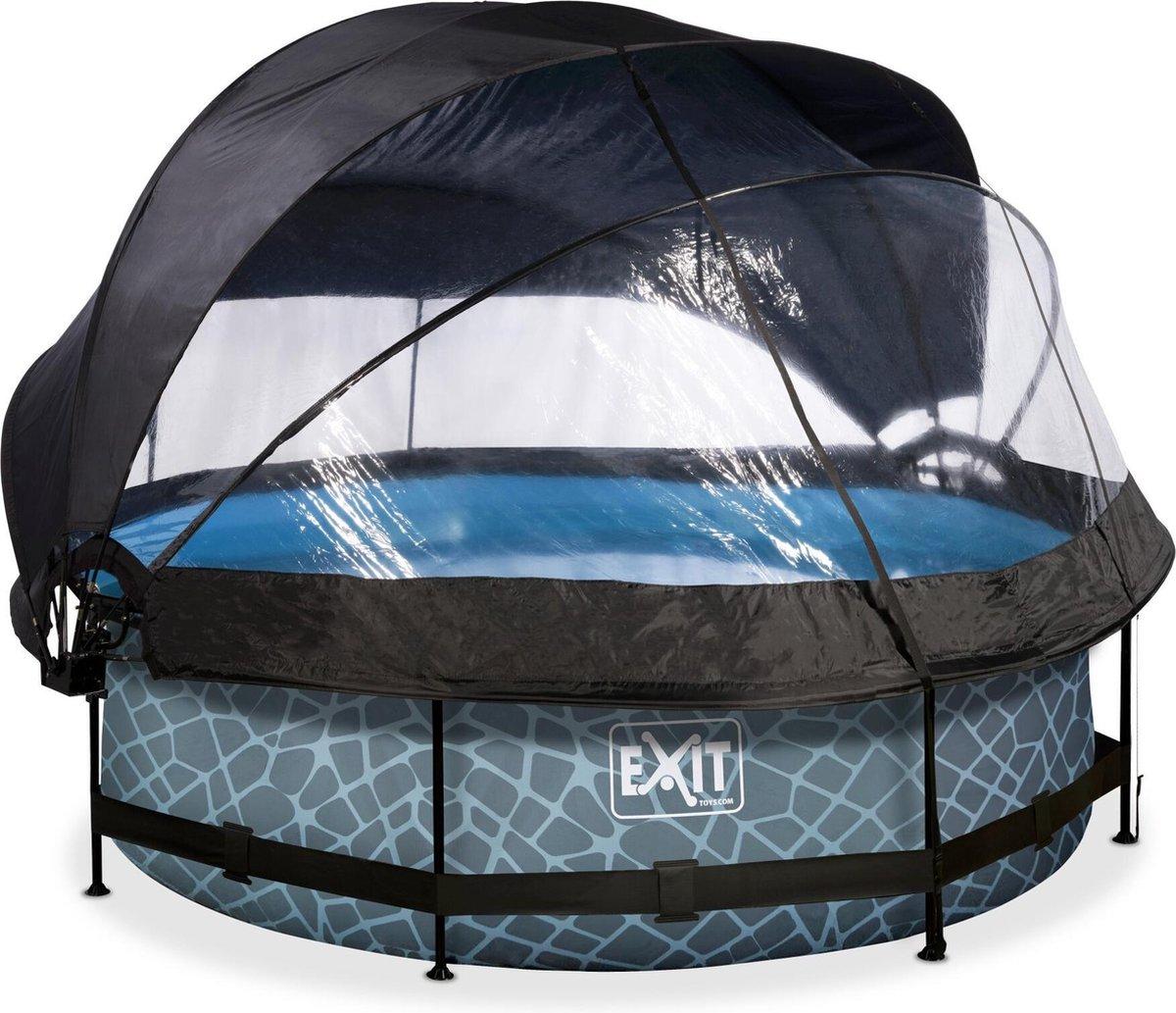 EXIT Stone zwembad ø300x76cm met overkapping, schaduwdoek en filterpomp - grijs