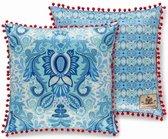 2x Leuke Gevulde Sierkussen Met Een Kleurrijke Print Blauw   50x50   Dubbelzijdig   Met Rondon Pom Poms