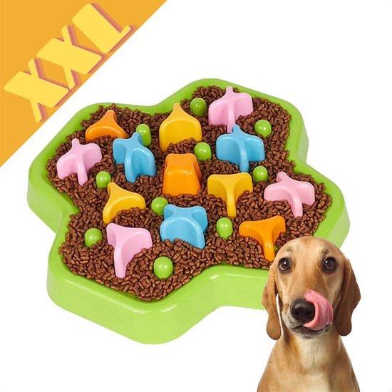 Anti schrokbak XXL - Slow Feeder voerbak hond of kat - Voerpuzzel - Slo Bowl - Fun Feeder - Roterende Knoppen - Interactief - 34 cm