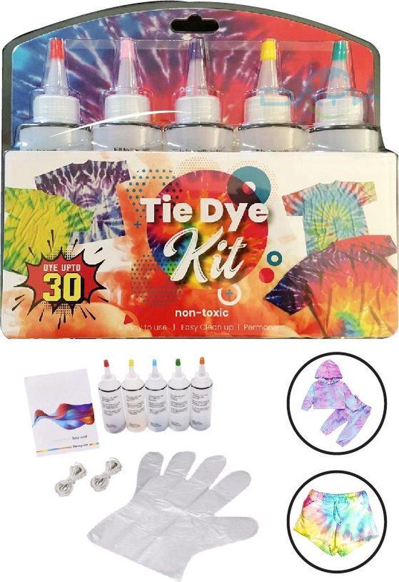 VoordeelShop Tie Dye Kit T-shirt Verf 5 Kleuren Incl accessoires - Textielverf - Tie Dye Verf - Knijpflesjes - Kleding Zelfcreaties