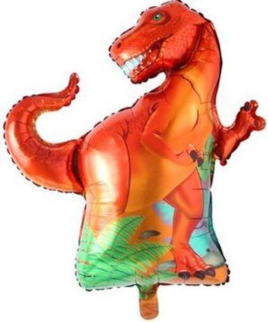 Dino ballon oranje - XXL - 91x76cm - Ballonnen - T-rex - Dino feest - Thema feest - Verjaardag - Helium ballon - dinosaurus ballon - Folie ballon
