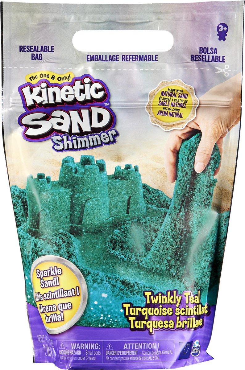 Kinetic Sand, zak met 907 g sprankelend blauwgroen, natuurlijk glinsterend zand om plat te drukken, te mengen en te vormen