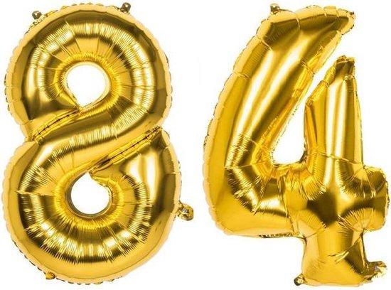 84 Jaar Folie Ballonnen Goud - Happy Birthday - Foil Balloon - Versiering - Verjaardag - Man / Vrouw - Feest - Inclusief Opblaas Stokje & Clip - XXL - 115 cm