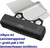 Albyco Lamineerapparaat A4 met gratis pak lamineerhoezen A4/80 micron - Zwart