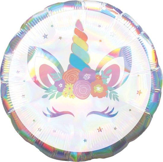 Amscan Folieballon Unicorn 46 Cm Wit/parelmoer