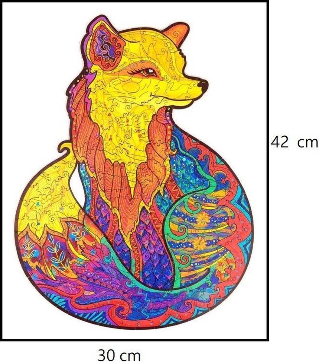 Houten jigsaw puzzel | Dierenfiguur puzzel | Houten dieren Puzzel | Educatieve puzzel | Decoratief | Houten Legpuzzel | Wooden Animal Jigsaw Puzzle | Breinbreker | A3 | Vos