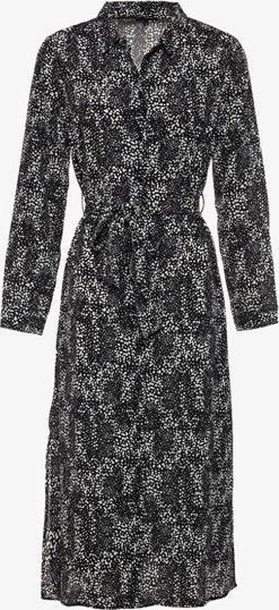Jazlyn dames blousejurk met print - Zwart - Maat L