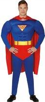 Superman Kostuum   Ultimate Power Blauwe Superheld   Man   Maat 48-50   Carnaval kostuum   Verkleedkleding