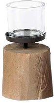 Windlicht op houten voet - Theelichthouder - Kaarshouder - Hoogte 23 cm