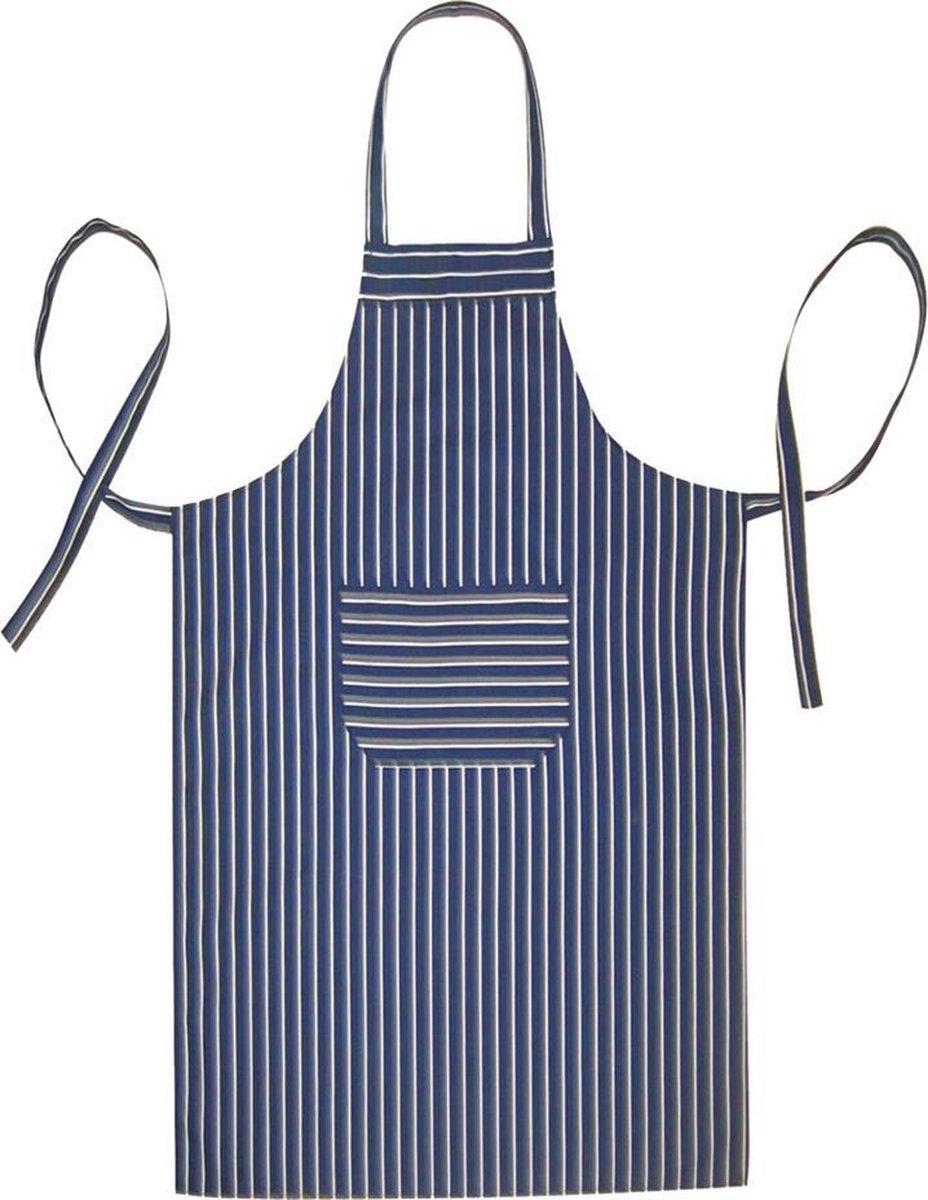 Homéé® Horeca suite Keukenschorten BBQ BIB Apron - schort - 70x100 cm - blauwe en witte strepen