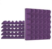 Zelfklevende geluidsisolatie pyramide | Akoestische panelen | Geluidsdemper | Studioschuim | 30 x 30 x 5 cm | 6 stuks - Paars