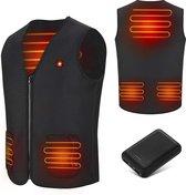 KIMO DIRECT Verwarmde Bodywarmer met 10.000 mAh Powerbank - Voor Motor/Ski/Kamperen/Vissen - Unisex