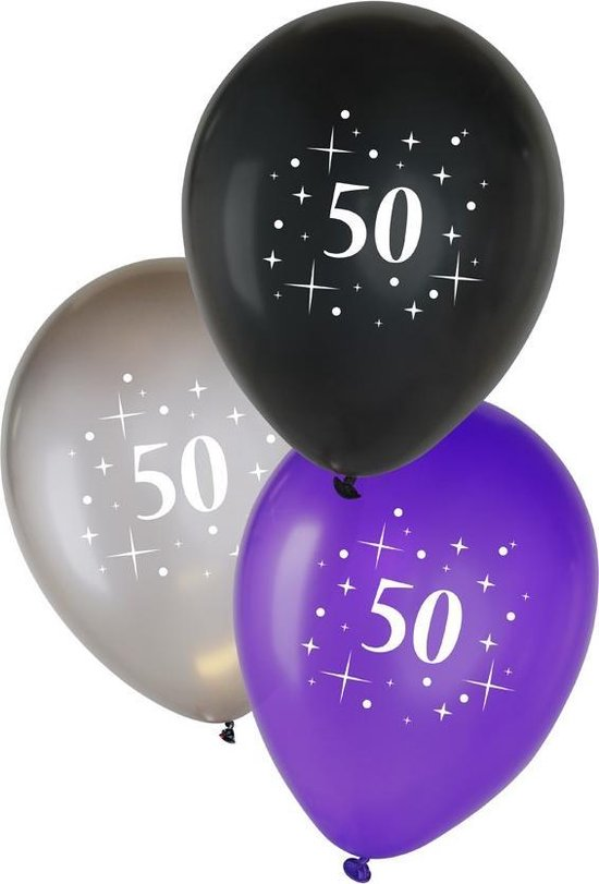 Metallic ballonnen 50 jaar Zwart/ Zilver/ Paars, Verjaardag