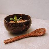Coconut Bowl & Lepel   MEDIUM   Doorsnede Ø 10 cm   Zero Waste   Kokosnoot Kom   Bowls   Handgemaakt in Vietnam   Trevadua  