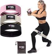 NINN Sports - Weerstandsbanden set van 3 Roze/Zwart - Bootybands - Weerstandsband - Resistance bands - Fitnessband