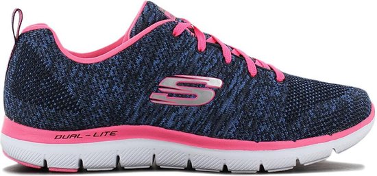 SKECHERS Flex Appeal 2.0 High Energy - Dames Sneakers Sport Casual schoenen Blauw-Roze 12756-NVHP - Maat EU 37 UK 4