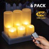 Horeca LED kaarsen - Oplaadbaar - 18-20 uur - 6 stuks - 40/45mm - Met Timer