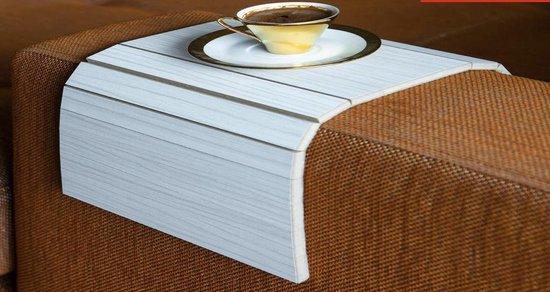 Flexibel dienblad | Armleuning dienblad | Anti slip | Banktafel| Armleuning organizer | Zachte achterlaag tegen beschadiging | Bank | Wit |