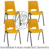Voordeelset 4 stuks KoC Samantha okergeel met zwart onderstel. Kantinestoel stapelstoel kuipstoel vergaderstoel tuinstoel kantine stoel stapel kantinestoelen stapelstoelen kuipstoelen arenastoel De Valk 3320 bistrostoel schoolstoel Stapelbare stoel
