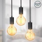 B.K.Licht - Hanglamp - zwart - retro - vintage - hanglamp eetkamer - woonkamer - excl. E27