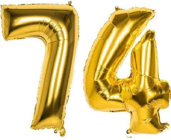 74 Jaar Folie Ballonnen Goud - Happy Birthday - Foil Balloon - Versiering - Verjaardag - Man / Vrouw - Feest - Inclusief Opblaas Stokje & Clip - XXL - 115 cm