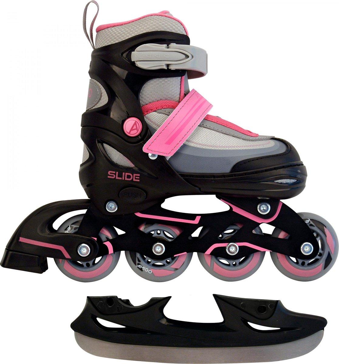 AMIGO Slide 2-in-1 skates - Voor meisjes - Zwart/Roze - Maat 30-33