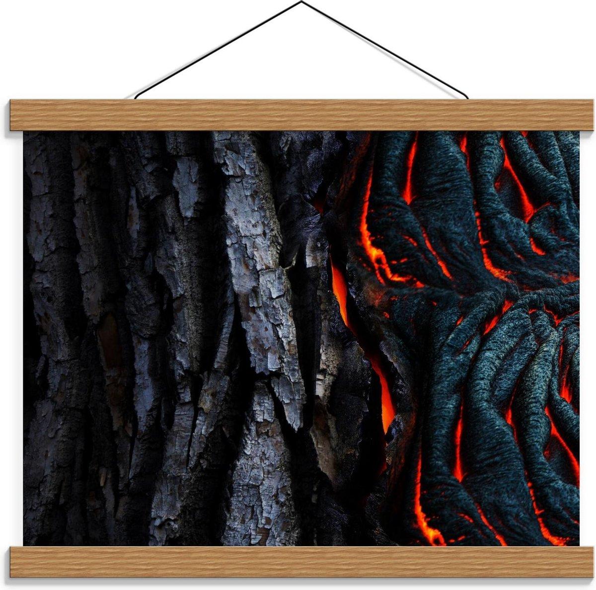 Schoolplaat   Vulkaan met Magma  - 40x30cm Foto op Textielposter (Wanddecoratie op Schoolplaat)