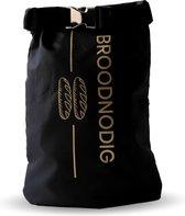 BROODNODIG®️ - Herbruikbare Boterhamzak - 100% gemaakt van gerecyclede PET-flessen - Duurzaam - Zero Waste - Lunchbox - Lunchtrommel - Diepvrieszak - Zwart