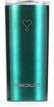 RUSH GREEN - Drinkbeker met rietje - RVS - Metallic groen - 12 uur koud - 6 uur warm - 470 ML - 16,5 cm hoog
