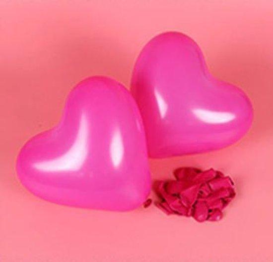 Hartjes ballonnen donker roze (10 stuks)   Verjaardag - Jubileum - Bruiloft - Verloving - Valentijn