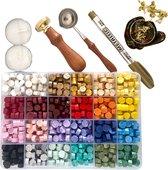 """MyLoveSeals 600 stuks set - 24 kleuren Was Zegels - Wax Stempel  """"Roos"""" - Goud Stift - Bekend Van TikTok"""