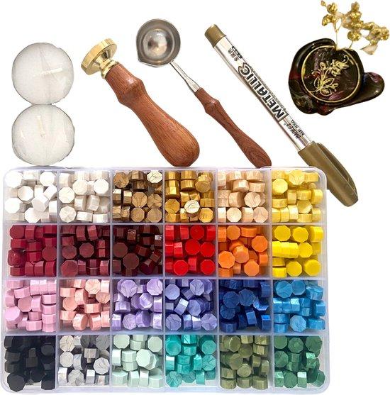Afbeelding van MyLoveSeals 600 stuks set - 24 kleuren Was Zegels - Wax Stempel  Roos - Goud Stift - Bekend Van TikTok speelgoed