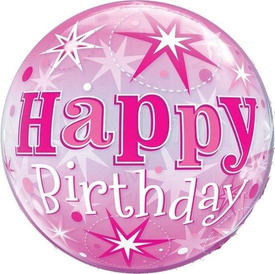 Folat Ballon Happy Birthday Bubbles 56 Cm Latex Roze