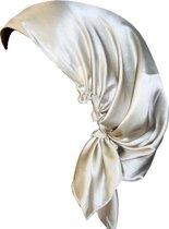 YOSMO - Zijden Slaap haardoek - kleur champagne - maat klein - kort haar  - Slaapmuts - Bonnet - 100% Zijden - Moerbei
