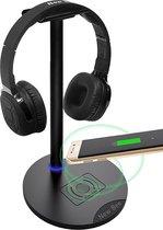 New Bee Headset stand - Wireless Charging 10W - Headset Stand - Headset Houder - Koptelefoon standaard - Koptelefoon Houder - Zwart