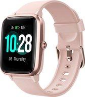 SAMMIT Smartwatch Dames Roze met StappenTeller- Met Meldingen- Calorieënmeter- Intelligente Smartwatch Dames en Heren- Smartwatch Iphone & Android- Sporthorloge