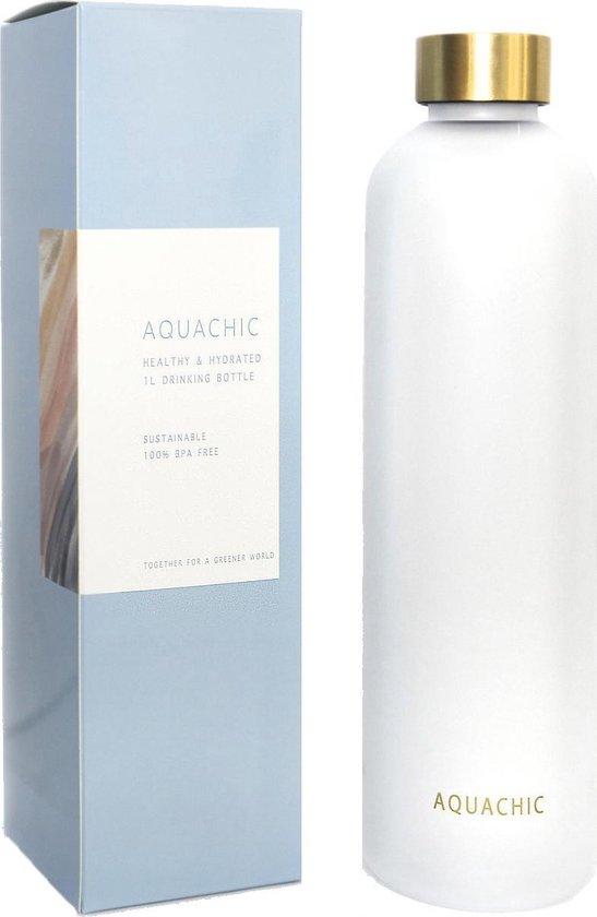 Aquachic 1 Liter Water Fles - Motivational Time Markers - Lekvrij en Licht - Drink Bottle voor werk, sport, fitness, yoga, reizen, school, volwassenen, baby's en kinderen- 1L Tritan Flask - Nederlands merk - Tip voor Valentijn -  Wit