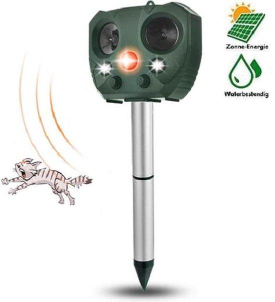 Steks® Kattenverjager - Kattenschrik - Kattenverjager op zonneenergie - Ultrasone katten verjager - Marterverjager - Muizenverjager - Dierenverjager - Op batterijen - Met adapter - Katten afweermiddel - Voor tuin - Ongedierte verjager