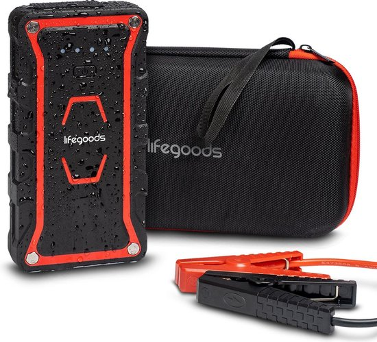 LifeGoods 12V Jump Starter - 1000A - 4-in-1 Starthulp, 13.000 mAh Powerbank, LED Zaklamp en SOS Noodlicht - Rood/Zwart